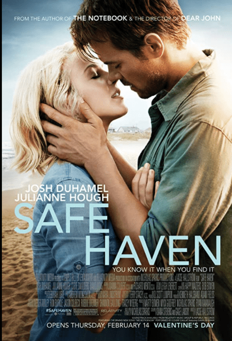 "Movie poster for ""Save Haven."" Josh Duhamel and Kate in front of a beach. He is holding the sides of her face while their mouths move toward each other as if they are about to kiss."