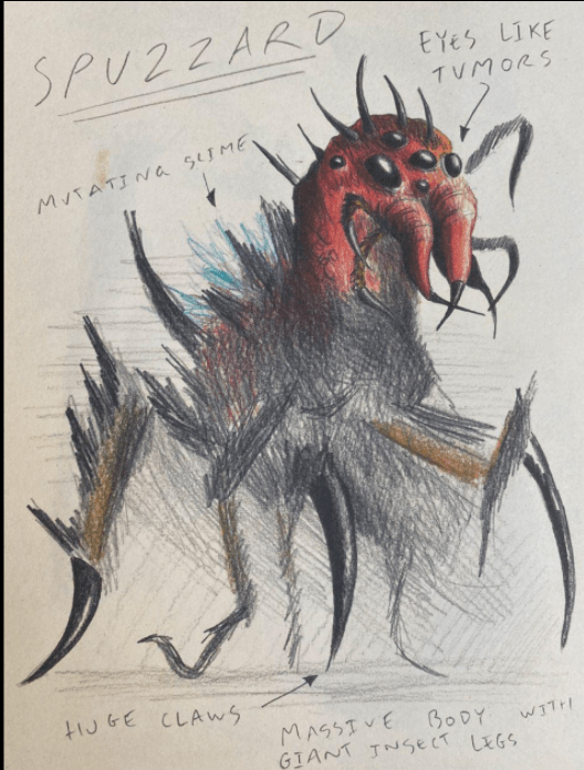 """One of Joel's drawings titled Spuzzard. It has a large red head with many eyes that are labeled """"tumor-like eyes."""" It also has many legs and what are labeled as """"Huge Claws."""" On it's back it has a label that says """"Mutating Slime"""" and at the bottom of the page it says """"Massive Body with Giant Insect Legs."""""""